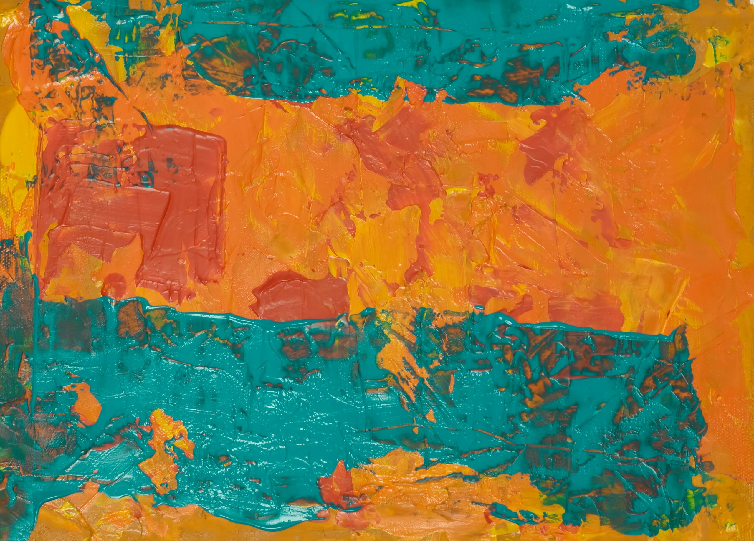 teal and red abstract painting